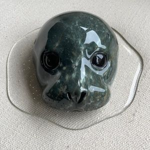 GENUINE SOAPSTONE CARVING SEAL HEAD IN WATER MADE IN BC